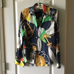 Ralph Lauren silk nautical long sleeve blouse sz 6